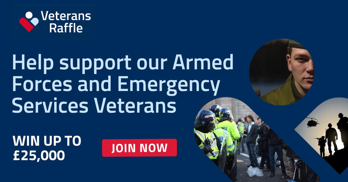 Enter Veterans Raffle | Best Veterans Lottery UK | Win Up to £25k